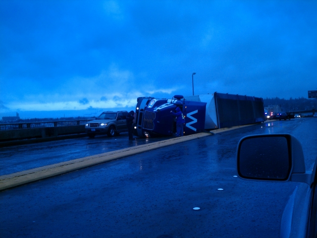 Rollover on Chehalis River Bridge