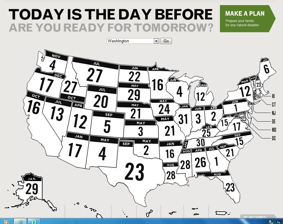 "Check out the ""Today is the Day Before"" campaign on FEMA's website to learn about recent historic disasters across the United States!"