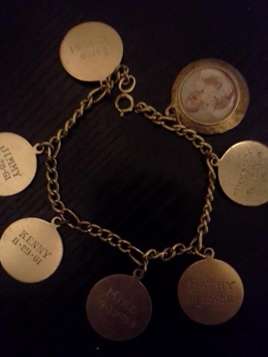 "Darlene's facebook post read ""FOUND---several years ago a charm bracelet with a picture of a little girl and six kids names on it. They are Kenny 11-29-61, Tommy 5-19-64, Cathy 10-13-58,Karen 12-18-64, Jimmy 12-28-61 and Mike 9-17-58. If there is anyone who might know this family I would love to return the bracelet. I did try to find the owner when I first found it in front of my gate on Sumner Avenue in Hoquiam."""