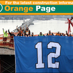 Crews working to build the new SR 520 floating bridge show their support for the Seahawks at the construction work zone in Medina.