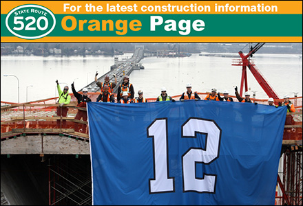WSDOT recaps 2013 pontoon progress, raises 12th man flag for Seahawks