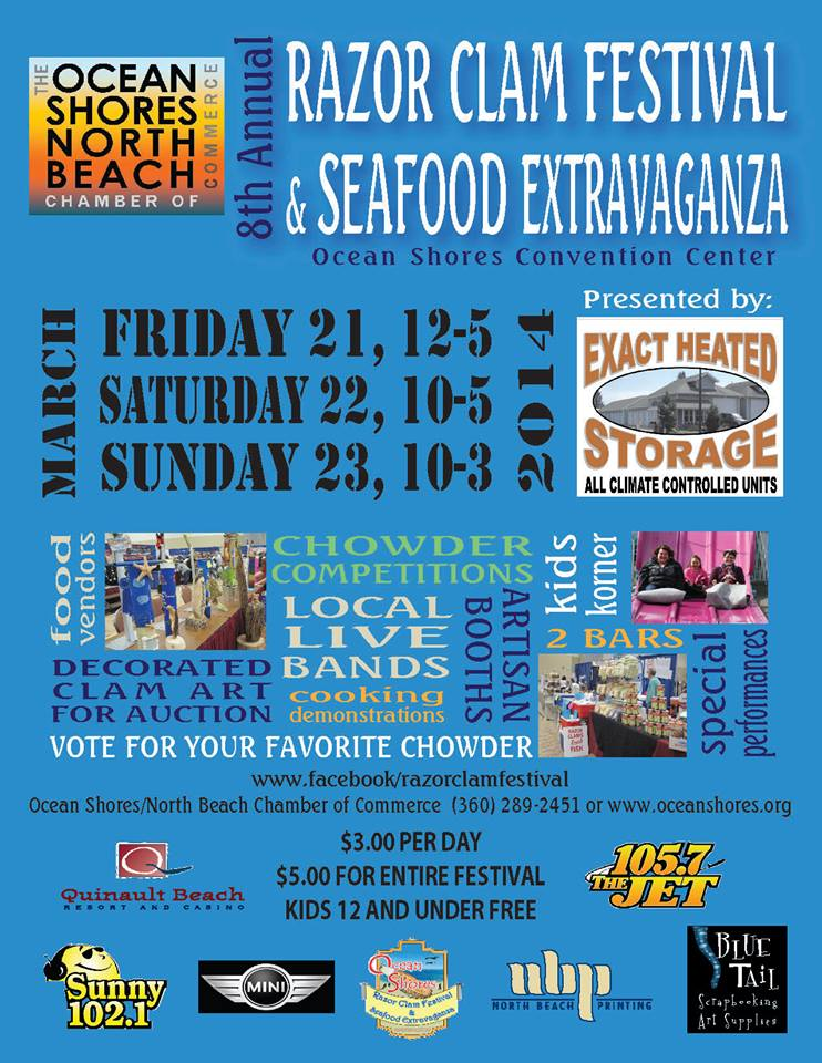 "Winners, Chowder, and ""Clambo"" highlight 8th annual Ocean Shores Razor Clam Festival and Seafood Extravaganza"