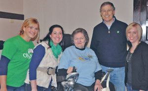 Tiffany Turner, Bethany Oszman, Pacific County Democrats' Chair Karen Spackman, Gov. Jay Inslee, and Erin Frasier