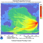 The Tsunami Energy Map from the Chilean Tsunami below shows how tsunami waves spread across the ocean.
