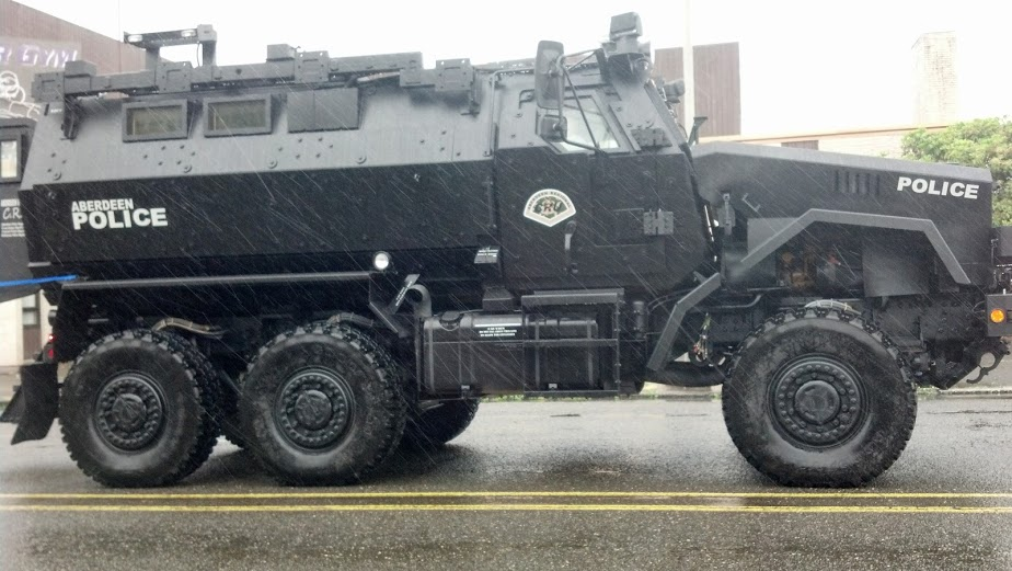 MRAP leads parade to front door of conflict, then through downtown Aberdeen