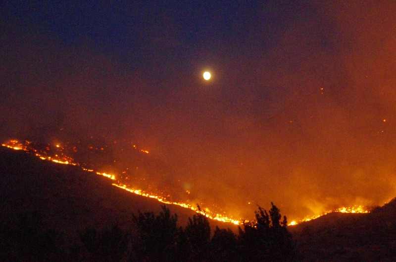 Mills Canyon fire at night, July 9, 2014. Photo by Vladimir Steblina / InciWeb