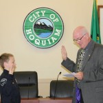 The Hoquiam Police Department has a new Chief, and 12 year old Dylan Ellefson, was sworn-in at City Hall by Mayor Jack Durney on Monday