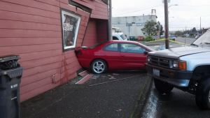 No injuries after car slides into Hoquiam store backwards