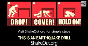The Great Shakeout is Thursday October 15th at 10:15am (10/15 @ 10:15)