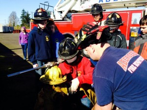 Boy Scouts from Troop number 5 in Aberdeen earned their fire safety merit badges over the weekend, with the help of some local firefighters.