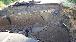 The culvert and damaged roadway after flood waters subsided.