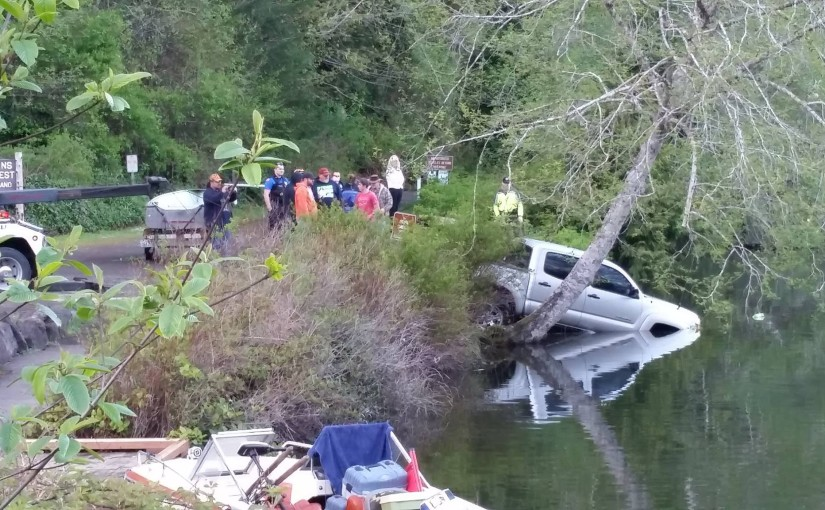 Truck slides into Lake Sylvia in Montesano, no injuries