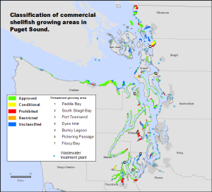 "Pollution restricts shellfish harvest in Pierce, Mason and Whatcom counties, Grays Harbor listed as  ""threatened"""