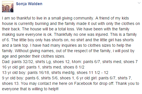 A listener reports Hands on Health in Montesano is accepting clothing donations for the family.