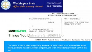 Washington Attorney General makes crowdfunded company pay for shady deal