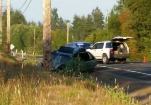 Aberdeen woman transported from car versus pole accident outside of Montesano