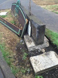 Cosmopolis Police are asking for any information on who may have struck the city's Welcome sign at the South entrance early yesterday morning.