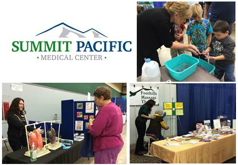 Top right: Sylvia James of SPMC using glitter to teach children the importance and procedures of proper hand washing. Bottom Right: Amy Thomason of Foothills Massage giving a fairgoer a free massage.  Bottom Left: A representative from Together Smoking Cessation informing a fairgoer about the effects of smoking on real pig lungs.