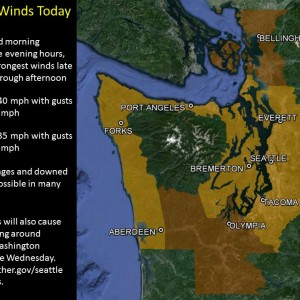 Strong winds and heavy rain are expected around Western Washington today. Downed trees and power outages are possible in many areas. Rivers around Western Washington will top their banks over the next couple days due to the heavy rains.