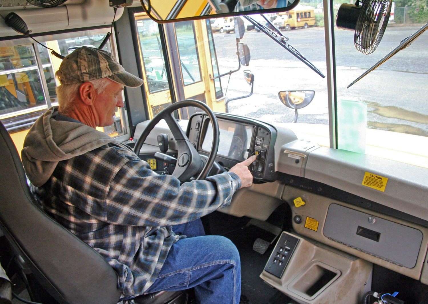Elma School District Bus Driver Using New Emergency Brake Toggle System