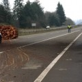 Log truck loses load on US Route 12 in Montesano