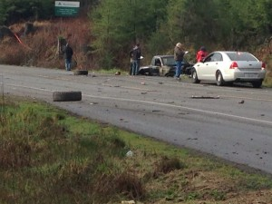 The roadway was partially blocked until around 2:30 this afternoon