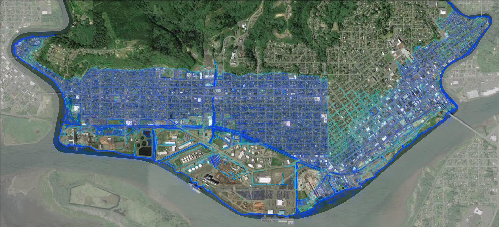 Flood-prone areas within the scope of the new North Shore Levee