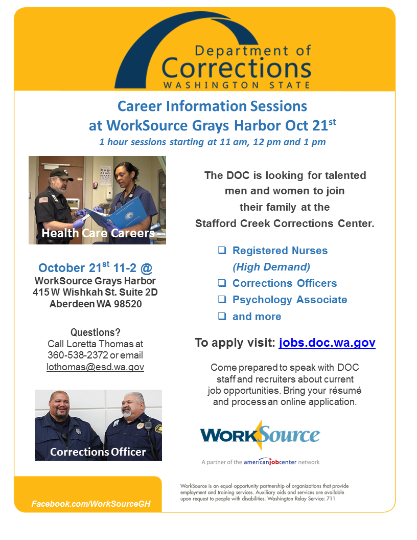 washington doc hosting hiring event in aberdeen for stafford creek the washington