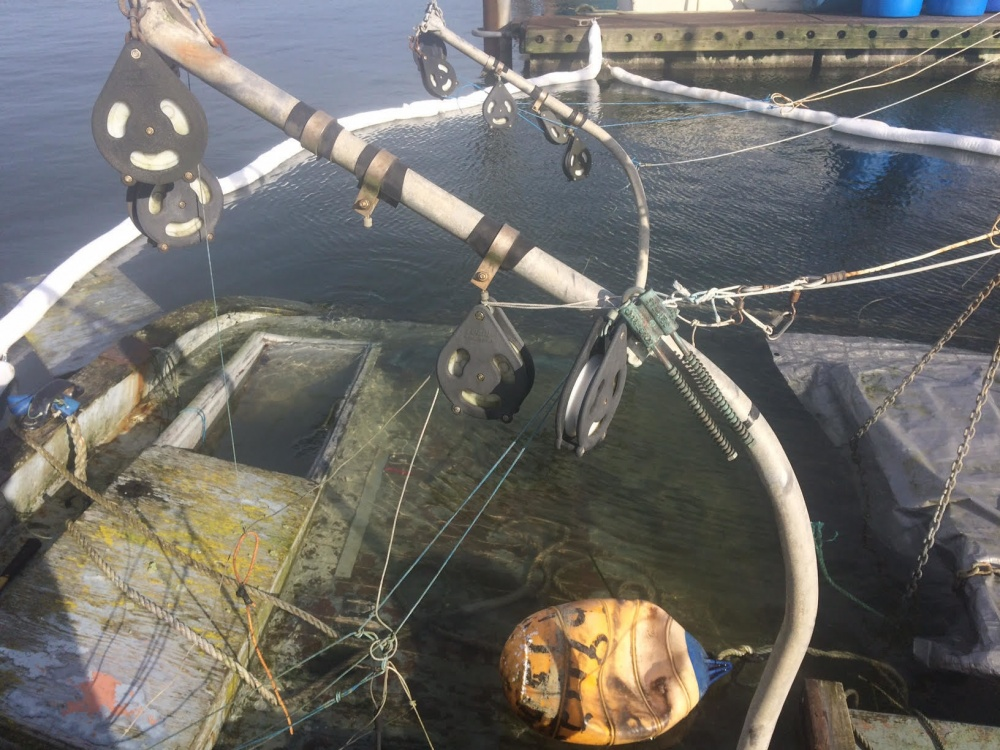The 41-foot vessel Charlotte is surrounded by boom to contain possible pollutants after it sunk at the Westport Marina in Westport, Wash., Nov. 25, 2016. IMD personnel minimize damage caused by pollutants discharged into the waters by providing coordinated, effective response to mitigate discharges of oil or releases of hazardous substances. U.S. Coast Guard photo courtesy of the Incident Management Division.