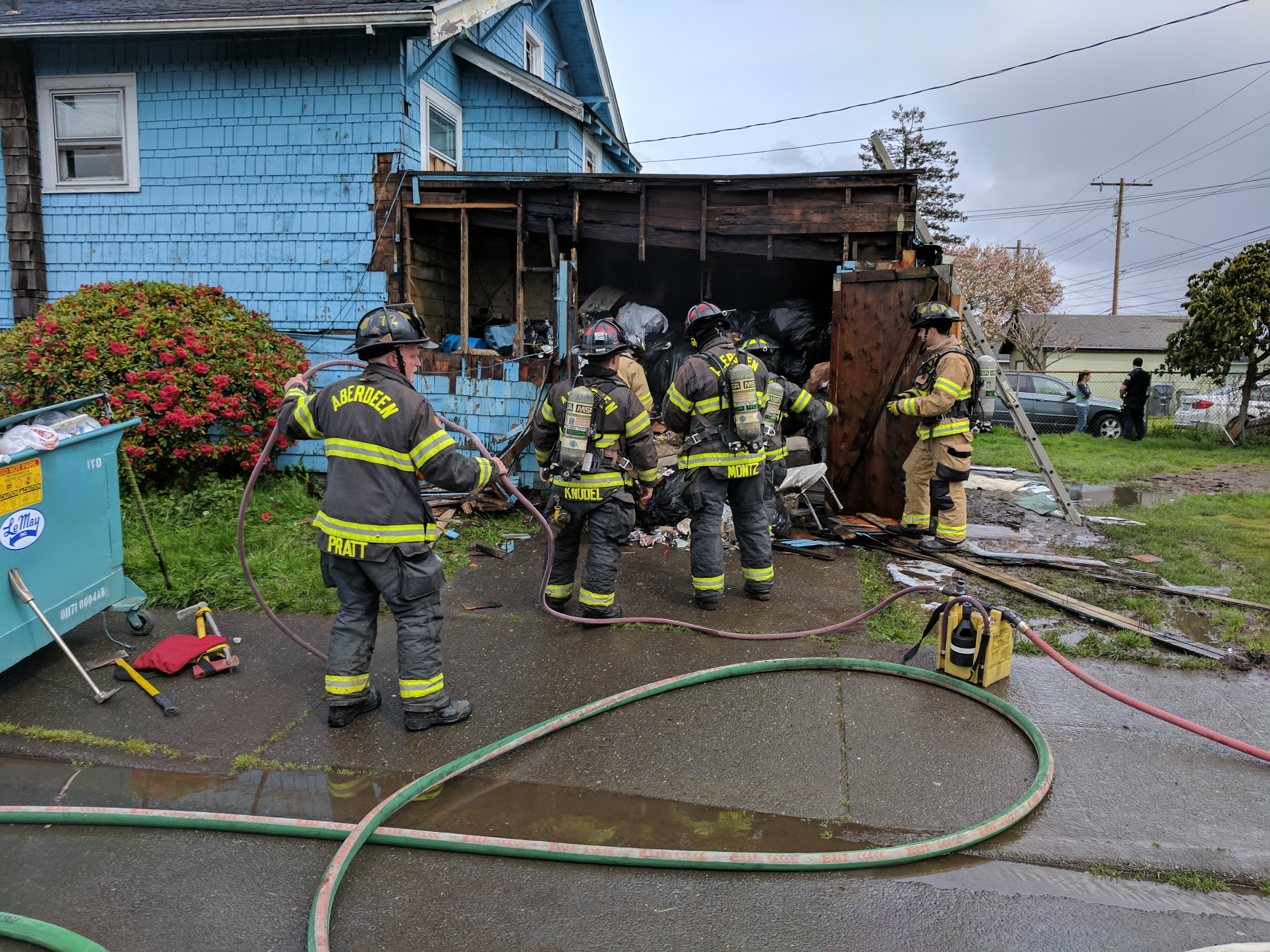 Aberdeen and Hoquiam Fire Crews Dowse Fire in Garage Full of Garbage