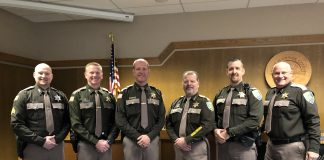 Pictured from left to right: Sergeant Jeremy Holmes, Lieutenant Jason Wecker, Undersheriff Brad Johansson, Sheriff Rick Scott, Chief Criminal Deputy Kevin Schrader and Chief Civil Deputy Darrin Wallace.